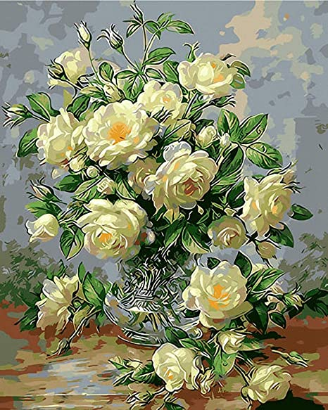 18CT Mono Deluxe,12 X 15 Pink Roses in Urn Beautiful Hand Painted Design Needlepoint Canvas A00123