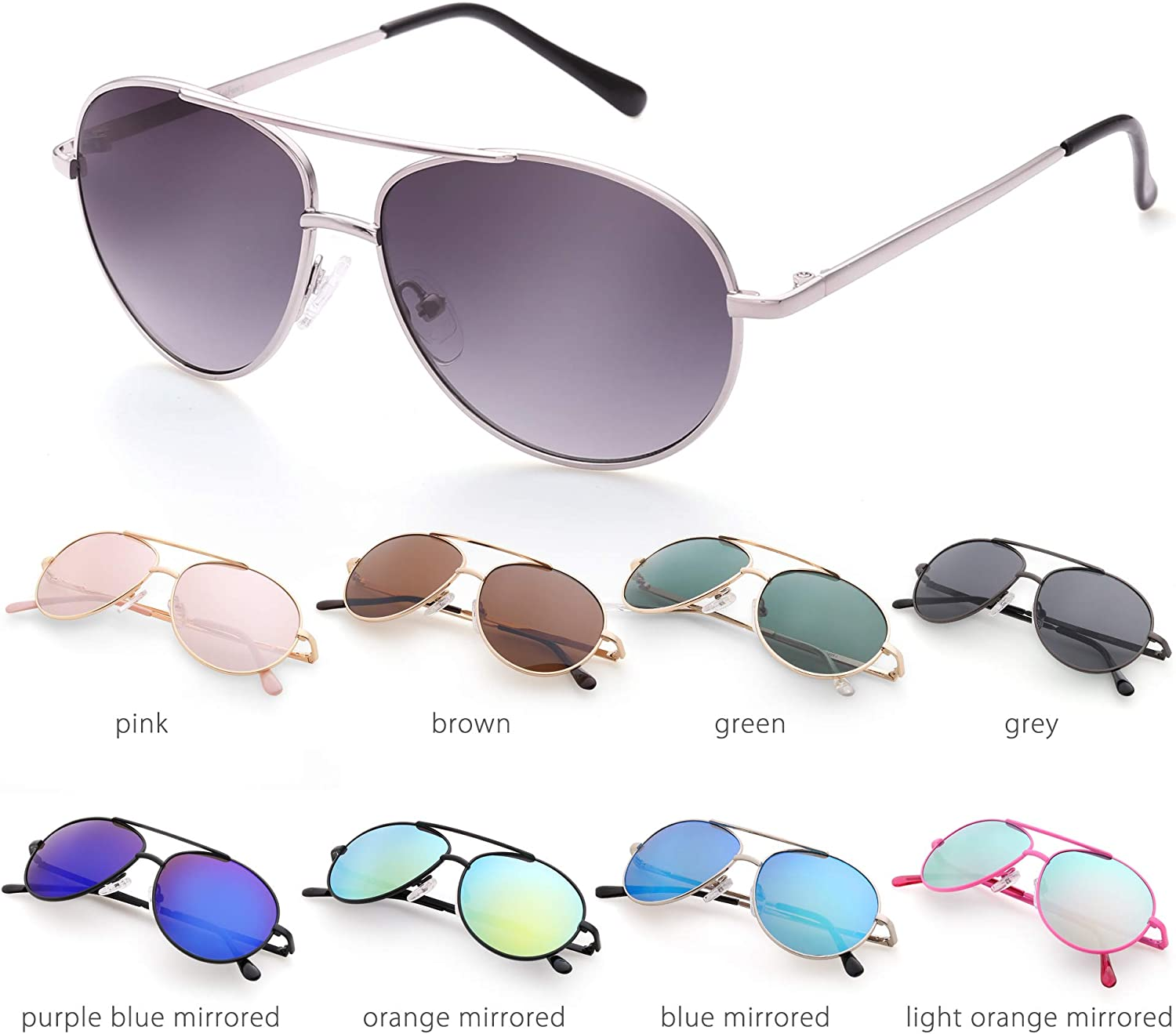 Lightweight Small Face Eyewear for Age 3-12 Aviator Sunglasses for Kids Girls Boys Children with Case UV Protection