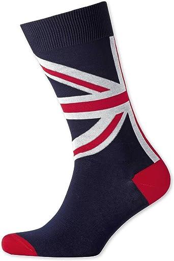Charles Tyrwhitt Calcetines azul marino con bandera del Reino Unido: Amazon.es: Ropa y accesorios