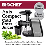BioChef Axis Compact Juicer: Affordable Masticating Cold Press Juicer Extractor (BPA-Free) Wide Chute, 150w Motor / 80 RPM | 3 Year Warranty. Juices: Fruits, Vegetables, Greens, Wheatgrass (Silver)