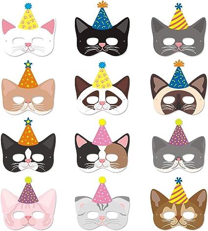 Amazon.com: Máscaras de gato con sombreros de fiesta ...