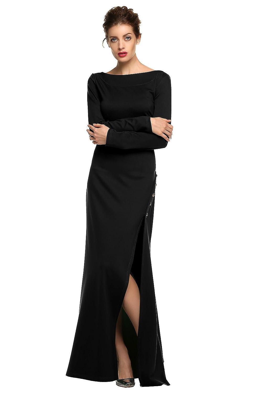 CRAVOG Damen Sexy Partykleid O-Ausschnitt Abendkleider Maxi Ballkleid