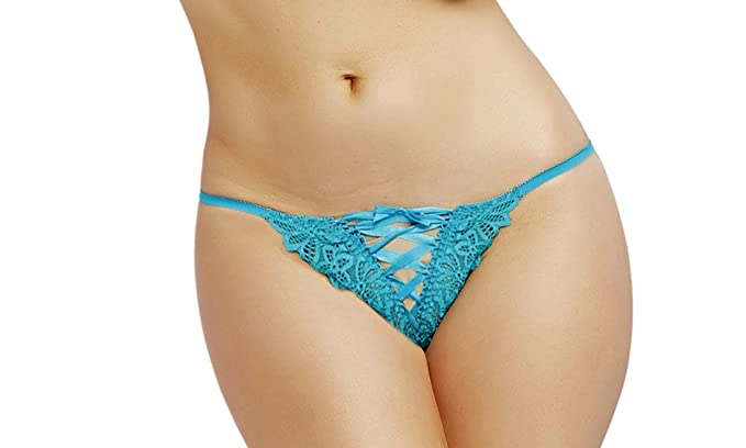 27757c2b3e53 Lacy Line Sexy Open Crotch Gartered Lace Panties (Small,Turquoise)
