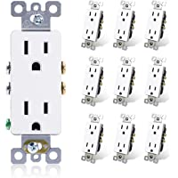 ELEGRP Decorator Receptacle, 15A 125V Standard Electrical Wall Outlet, 2 Pole 3 Wire, Non- tamper Resistant, NEMA 5-15R…