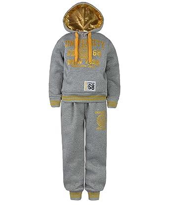 f7ef45f345de2 Enfants University Survêtement Haut Capuche Jogging Garçon Fille Costume 2  Pièces: Amazon.fr: Vêtements et accessoires
