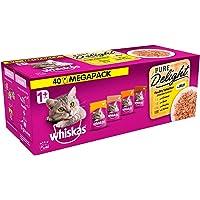 Whiskas Pure Delight våtmatpåsar, utsökt och välsmakande fågelurval i gelé, lämplig för katter i åldern 1 + , 40 x 85 g