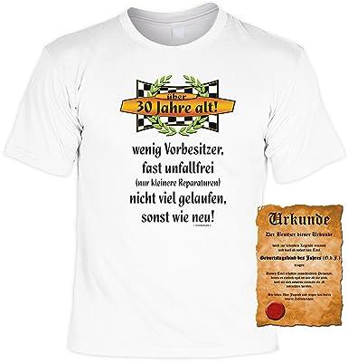 Zum 30 Geburtstag Auto Sprüche Tshirt 30 Jahre Alt Wenig