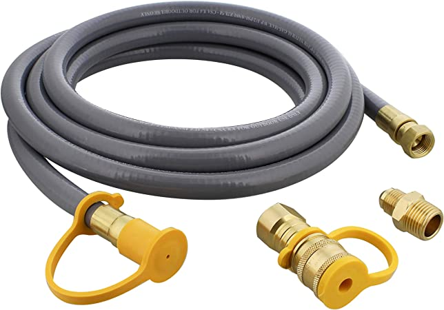 BISupply Natural Gas Grill Hose, 12ft - Flexible Gas Line Quick Connect Gas Hose 3/8in Female Flare to 3/8in Male Flare