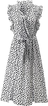 Women's Split Neck Boho Polka Dot Sleeveless Midi Dress Split Hem