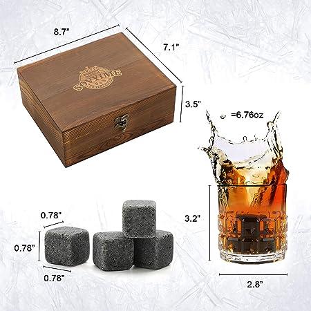 Juego de vasos de whisky, 8 piedras de granito, 2 vasos de cristal y bolsa de terciopelo para beber whisky escocés o ginebra, caja de madera regalo para Navidad, cumpleaños o jubilación