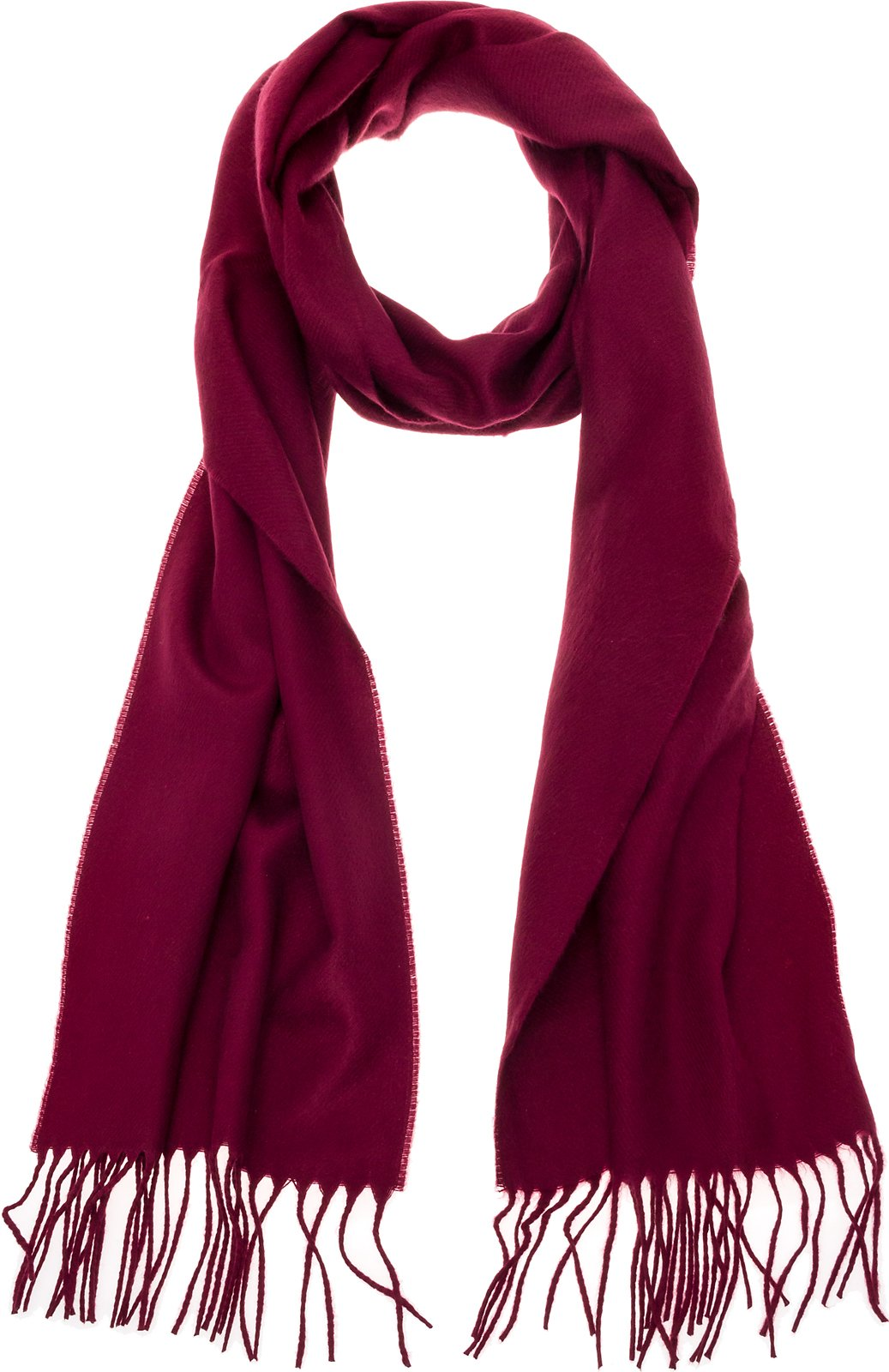 100% Cashmere Wool Scarf - Super Soft 12'' x 64.5'' Shawl Wrap w/Gift Box for Women and Men, Burgundy