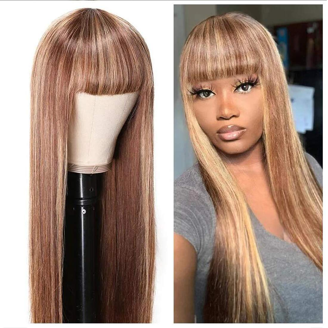 Amazon Com Beauty Forever Honey Blond Ombre Highlight Silk Straight Wig With Bangs Glueless None Lace Human Hair Wigs For Women Brazilian Virgin Hair Full Machine Made Wig Breathable Net Cap 20