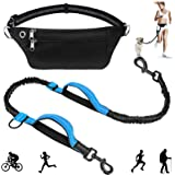 Hands Free Dog Leash 5FT-8FT Waist Leash with Reflective Stitches Extra Long Bungee Dog Lead Adjustable Waist Belt for Small