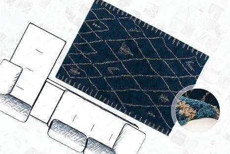 Tappeto Pelo Lungo Turchese : Tappeto shaggy a pelo lungo modern di alta qualità rombo turchese