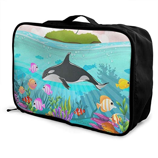 Portable Luggage Duffel Bag Killer Whale Travel Bags Carry-on In Trolley Handle