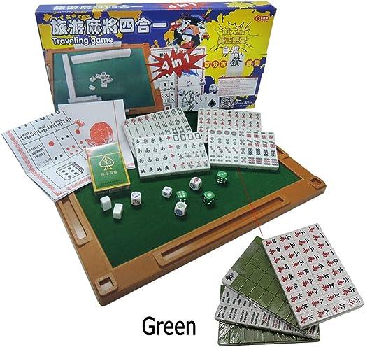 ALTINOVO Juego de Juego de Mahjong de tamaño pequeño Chino para Viajes al Aire Libre, 144 Azulejos con Mesa de Mahjong, Dados y Naipes. (Mah Jong, Mahjongg, Mah Jongg),Green: Amazon.es: Hogar