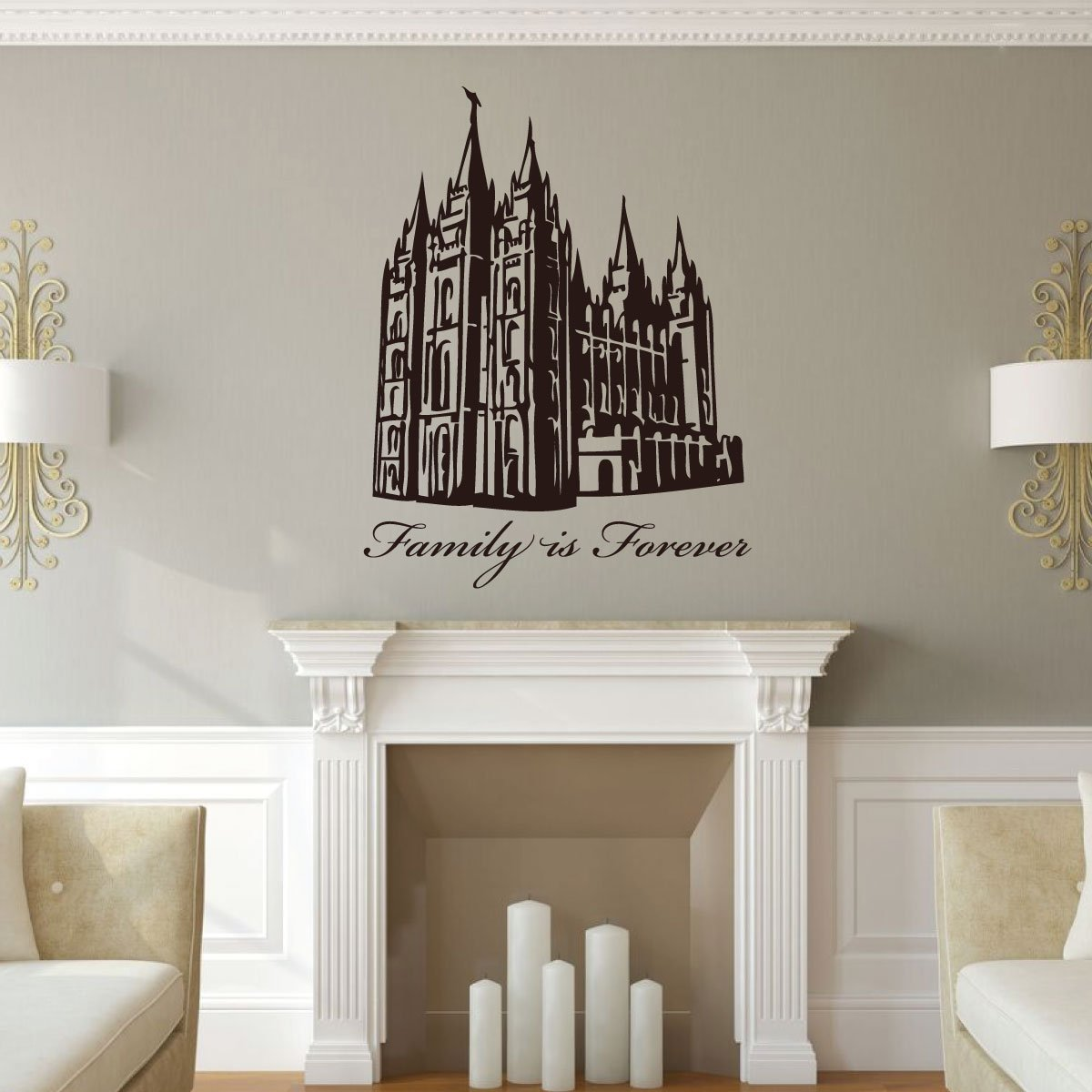 Family is Forever Wall Decal with Salt Lake Temple - LDS Vinyl Art Silhouette Home Decor for Living Room, Bedroom, Kitchen, Office