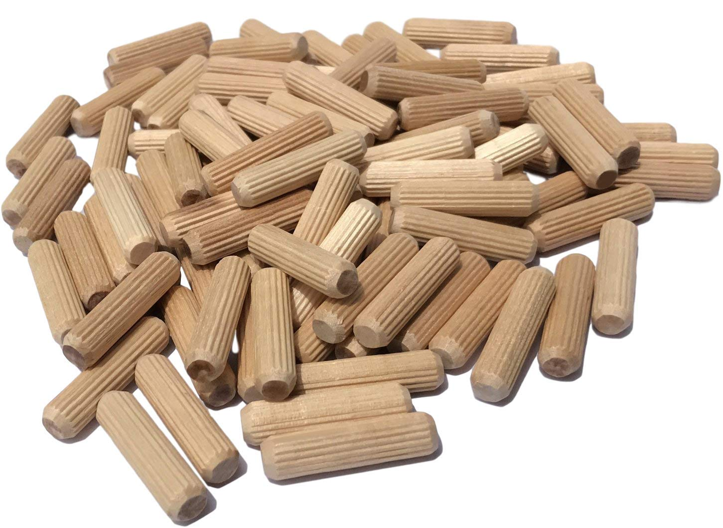 "100 Pack 3/8"" x 1 1/2"" Wooden Dowel Pins Wood Kiln Dried Fluted and Beveled, Made of Hardwood in U.S.A."