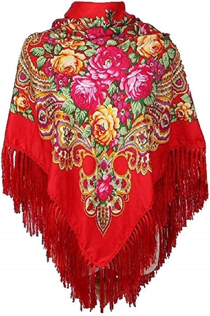 Women Long Tassel Russian Style Scarf Big Size Shawl Vintage Cotton Square