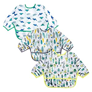 Baby Bibs Long Sleeved 6-24 Months - Waterproof Bibs for Babies - Unisex 3-Pack Full Coverage Apron Bib Smock Toddler bibs with Pocket - Washable, Stain and Odor Resistant(Cactus, Dinosaur, Feather)