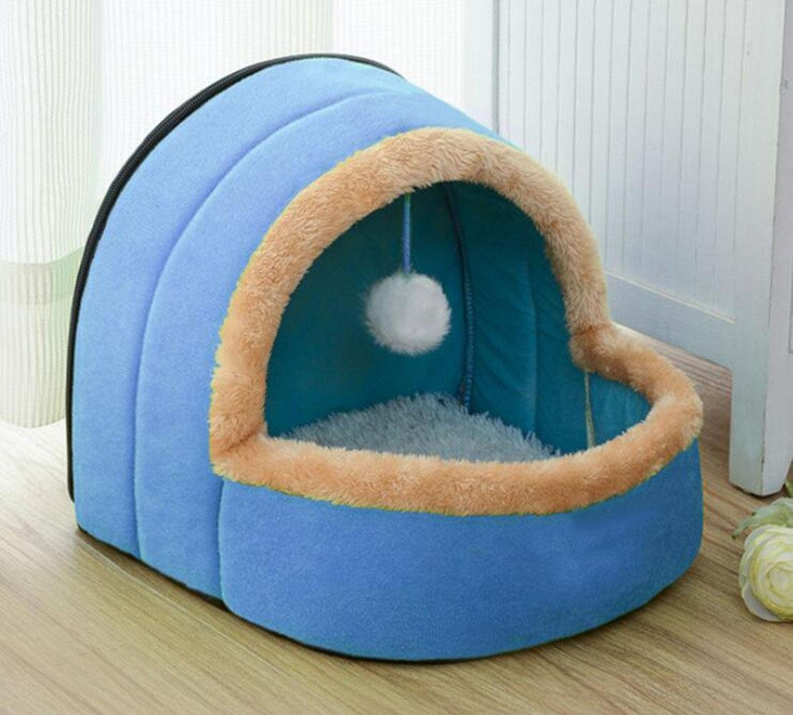 WWQY Round Pet Cat Dog Nest Bed Bun Puppy Soft Warm Cave House Soft Foldable Winter Soft Cozy Sleeping Bag Mat Pad Cushions, m