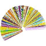 45 Pcs Slap Bracelets, Party Favors Slap Bracelet Pack with 45 Colorful Different Patterns, 1.1 x 8.7 Inch