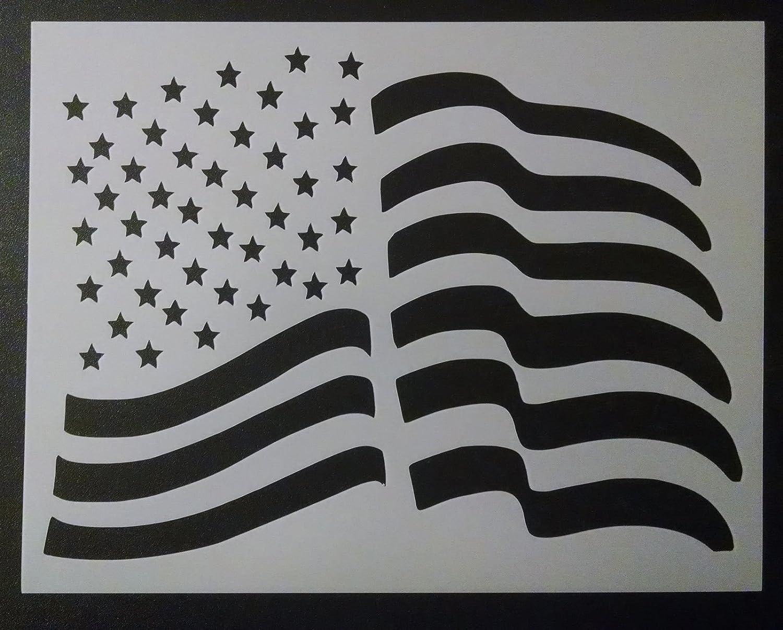 OutletBestSelling 再利用可能 頑丈 USA アメリカ国旗 ウェーブ 波 波 波 8.5 x 11インチ ステンシル B07H3B79QM
