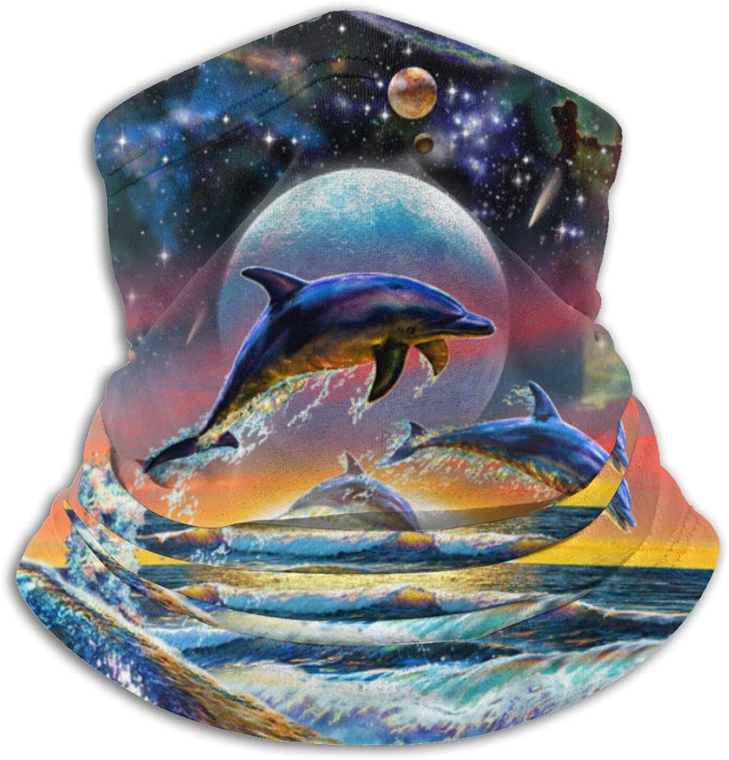 Starry Moon Jumping Dolphin Face Mask Dust Wind Neck Gaiter Bandana Headwear Face Scarf