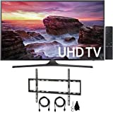"Samsung UN55MU6290FXZA Flat 54.6"" LED 4K UHD 6 Series Smart TV (2017 Model) with Flat Wall Mount Kit Ultimate Bundle for 45-90 inch TVs"