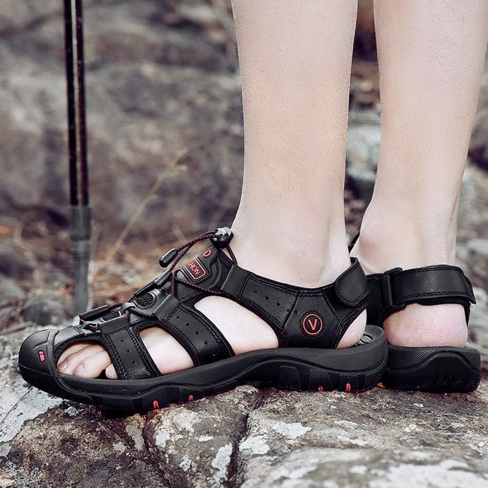 Unitysow Sandali Uomo Estivi Allaperto Antiscivolo Sportivi Escursionismo Trekking Sandals Cuoio Casuale Pescatore Punta Chiusa Spiaggia Sandali