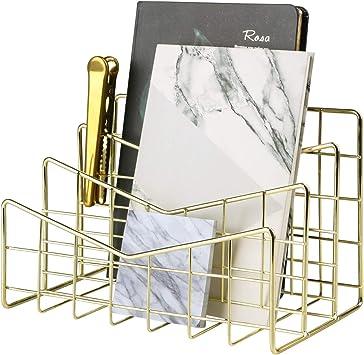 Books Letter Organizer for Letters Mail Holder Rose Gold Postcards and More MORIGEM Desktop Mail Organizer Mails 3-Slot Metal Wire Mail Sorter
