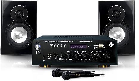 Pack My Karaoke DJ Altavoces + amplificador de 150W + 2 Mics ...