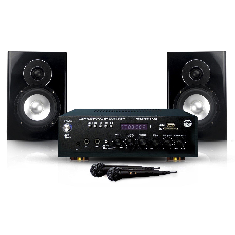 MyDj Pack My Karaoké 150W 2 Enceintes + Amplificateur + 2 Microphones/Câble pour DJ Noir Systèmes