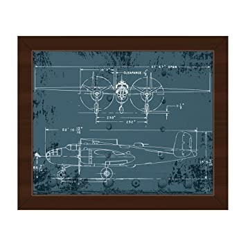 Amazon airplane blueprint distressed antique vintage b25 airplane blueprint distressed antique vintage b25 mitchell bomber world war 2 wwii plane line art malvernweather Images