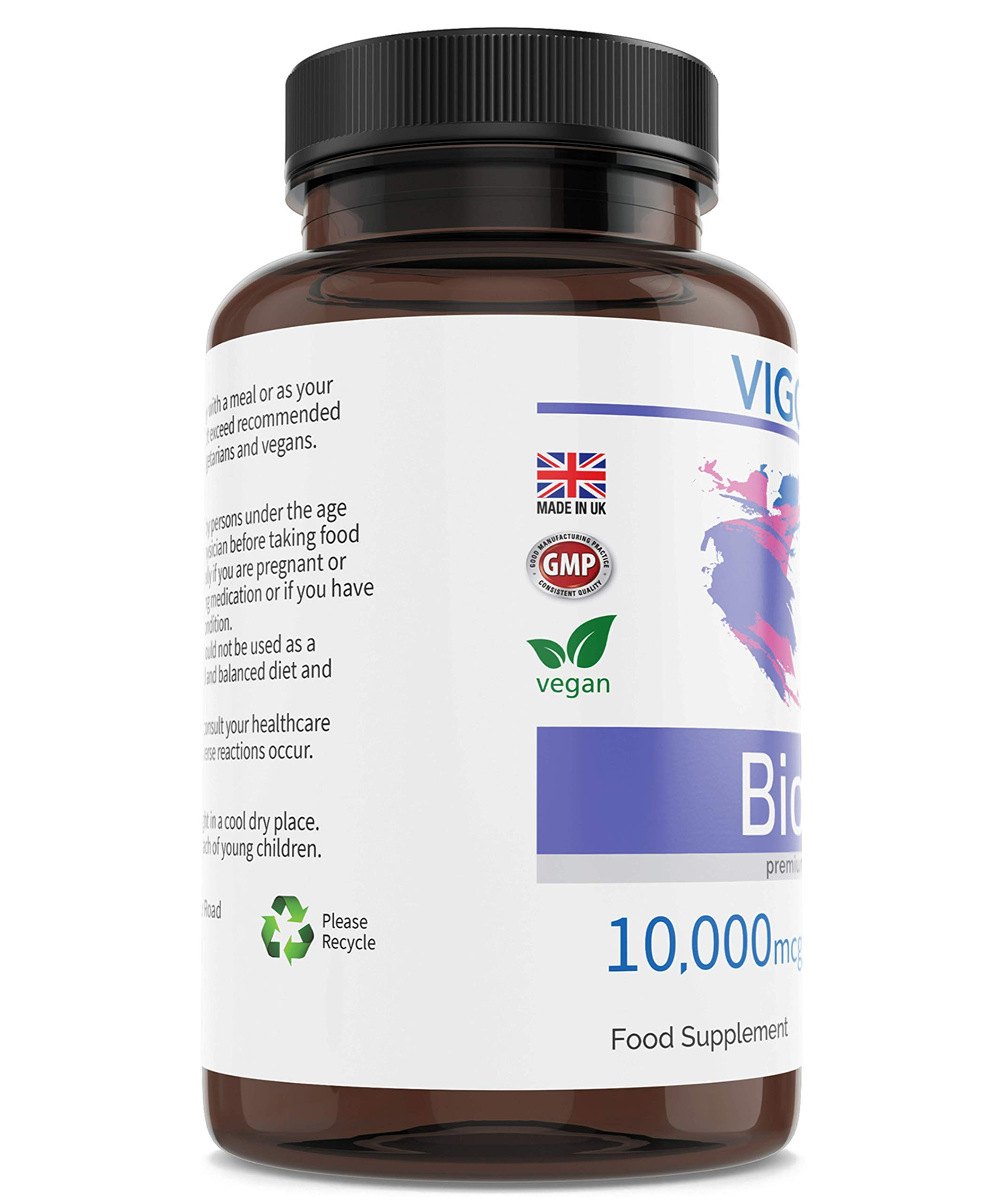 Biotin for Hair Growth and Healthy Nails, Beard, and Skin - 10,000 mcg 120 Tablets - High-Strength Vitamin B7 Food Supplement for Men and Women's Beauty - Allergen-Free - Non-GMO - Vegan - Made in UK