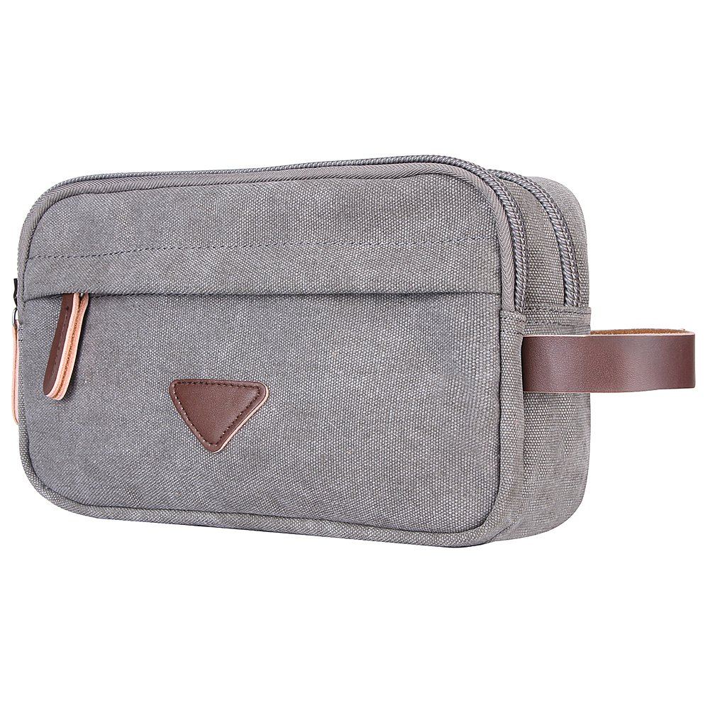 Mens Toiletry Bag, Canvas Leather Travel Cosmetic Organizer Bag Shaving Dopp Kit Bag(Gray) iAjudy