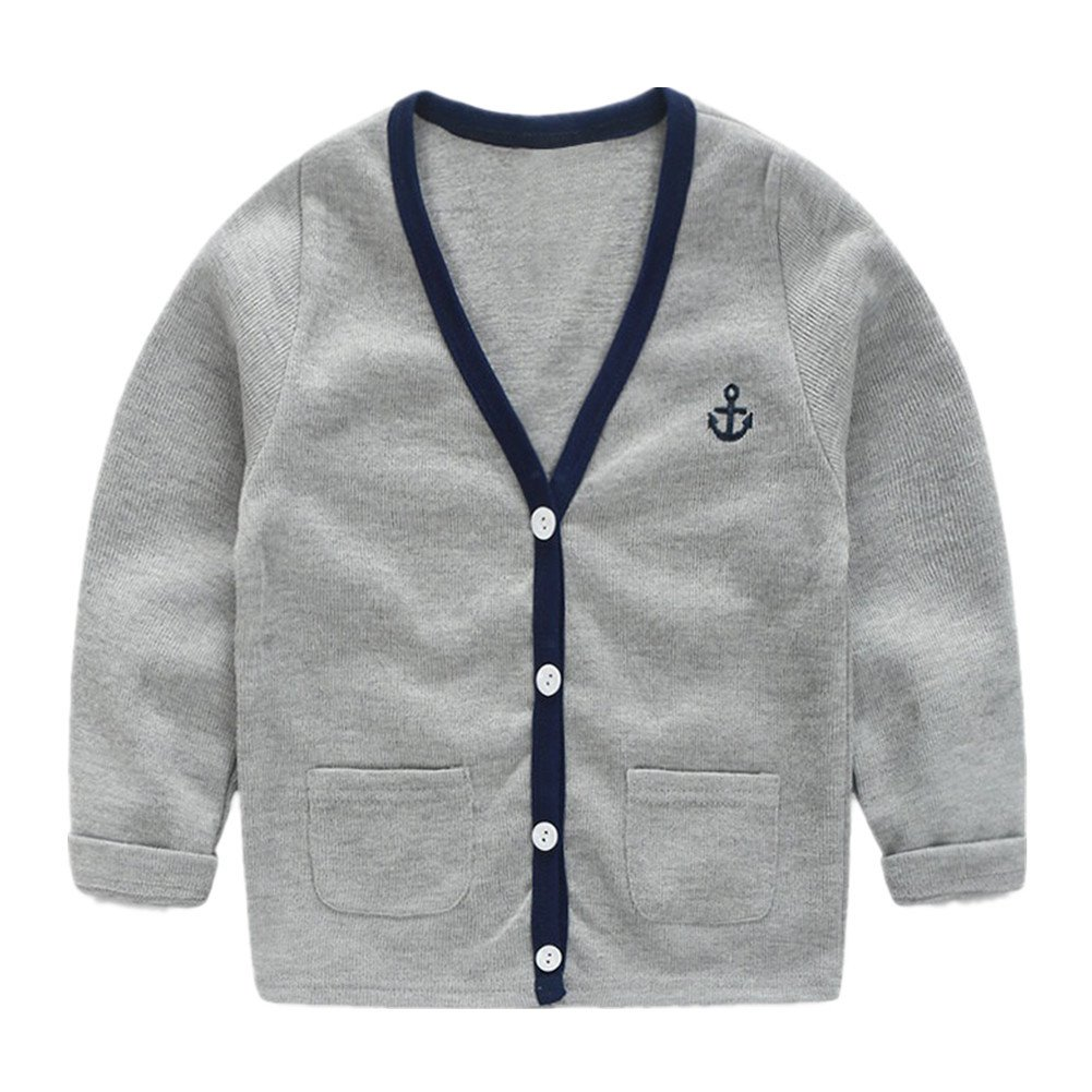 LittleSpring Little Boys' Slim Cardigan V-Neck Buttons Size 4T Grey