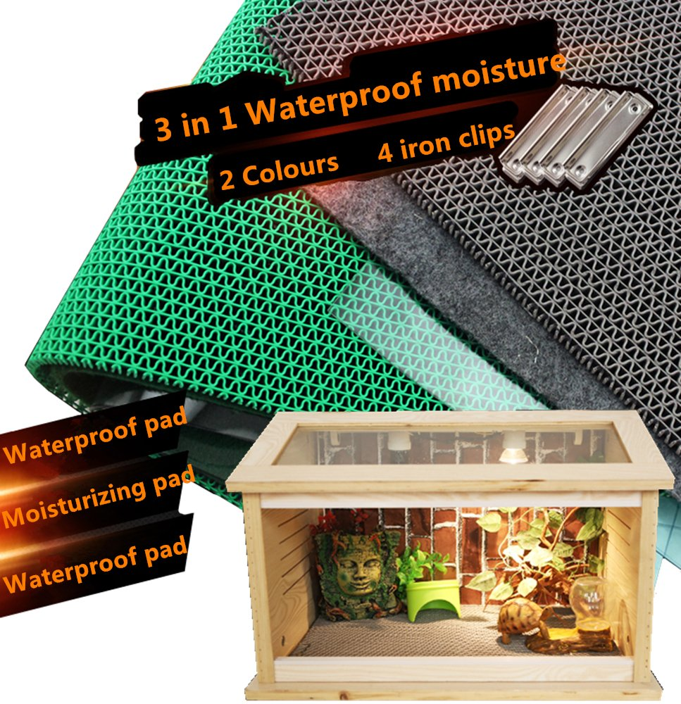 DREAMER.U 3 in 1 Waterproof Moisture Reptile Cage Substrate Carpet Landscaping Liner Mat for Reptiles Snakes Lizards Terrarium Turtles Soft Cage Floor Pad Grey)