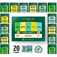 VAHDAM, Green Tea Sampler, 5 TEAS - Tea Variety Pack | Assorted Green Tea Bags | Organic Green Tea, Mint, Earl Grey, Chamomile Tea Bags | 20 Ct | Tea Gift Set & Tea Gift for Tea Lovers