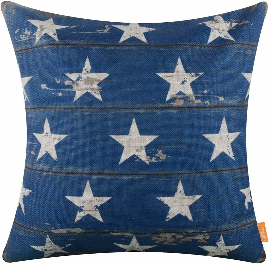 "LINKWELL 18""x18"" Independence Day Blue Stars Holiday Burlap Pillow Cover Cushion Cover CC1497"