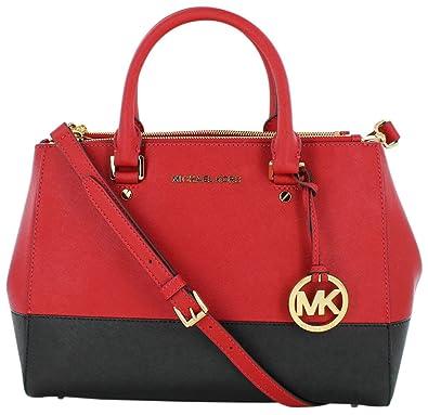 Michael Kors Sutton Color Block Medium Satchel Red Black  Amazon.co.uk   Shoes   Bags 6db094be7f