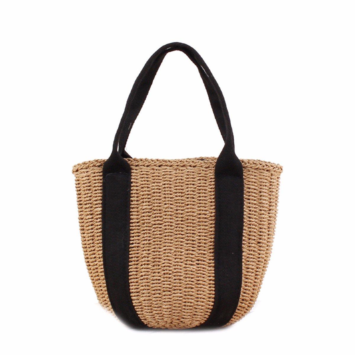 GTVERNH-der Frauen/Mode Handtasche/All-Match/Handtasche aus Tasche Hand Trug Schleife Stroh aus Tasche Urlaub Strand - Tasche.