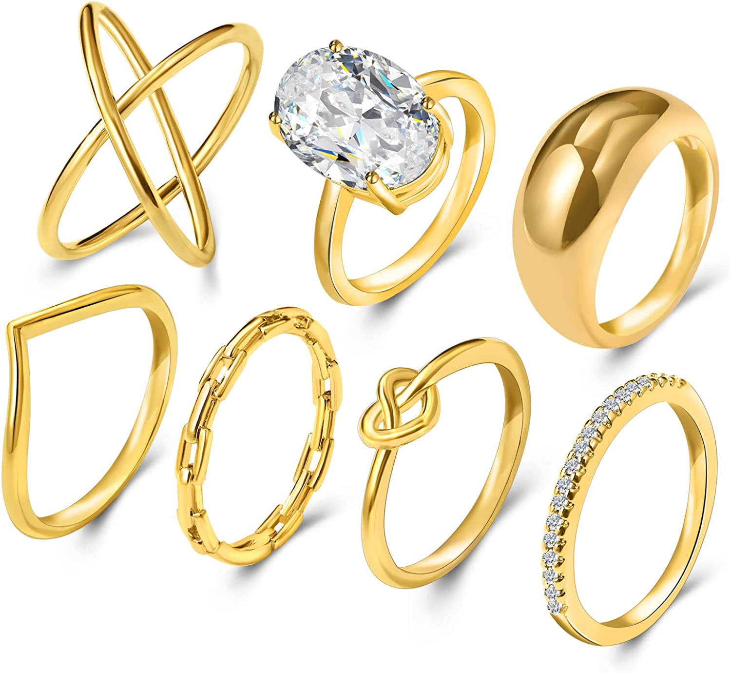 18k Gold plated ring set with cubic zirconia stones Thick chunky band ring statement ring gift for her