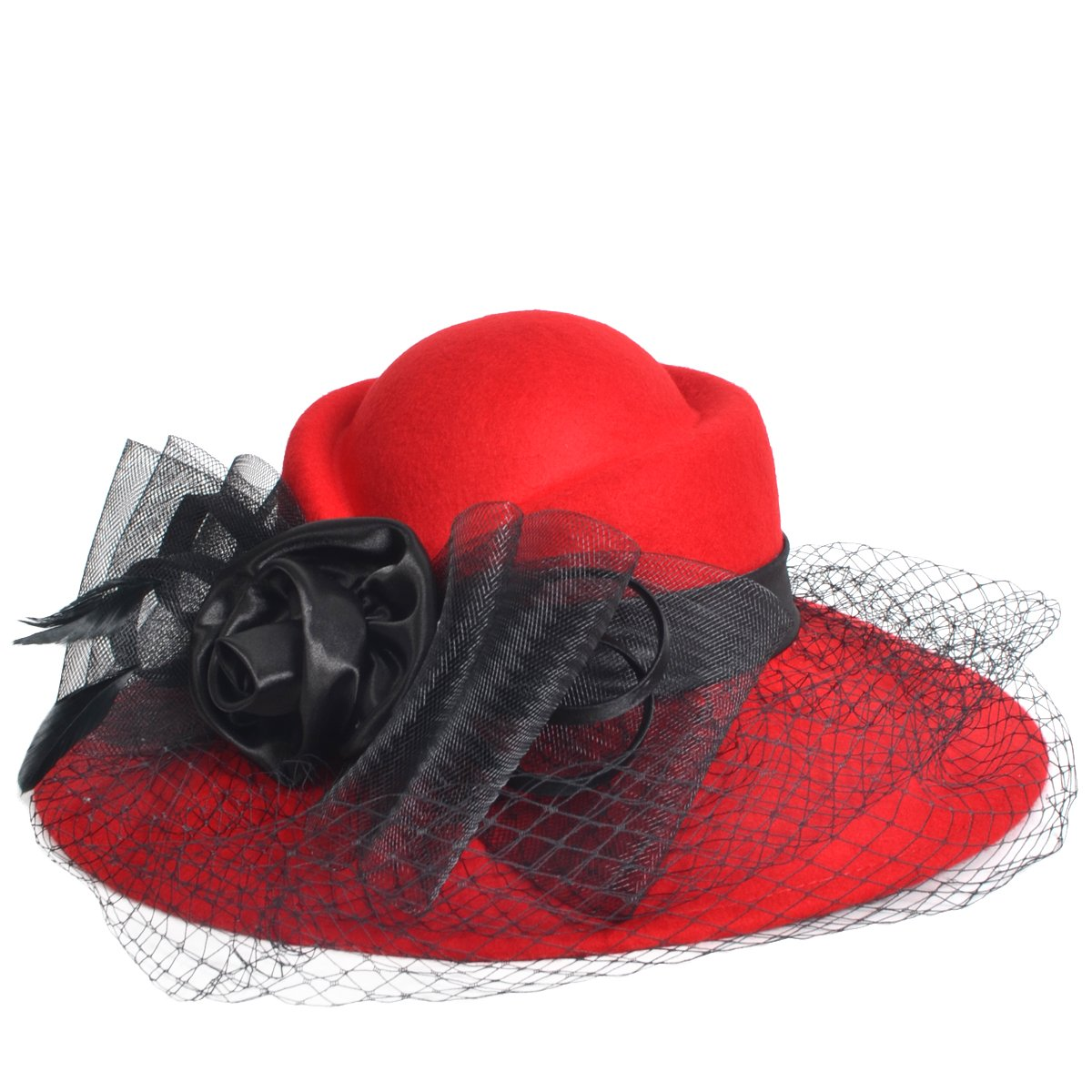 VECRY Women's Fascinator Wool Felt Hat Cocktail Party Wedding Fedora Hats (B-Red) by VECRY (Image #3)