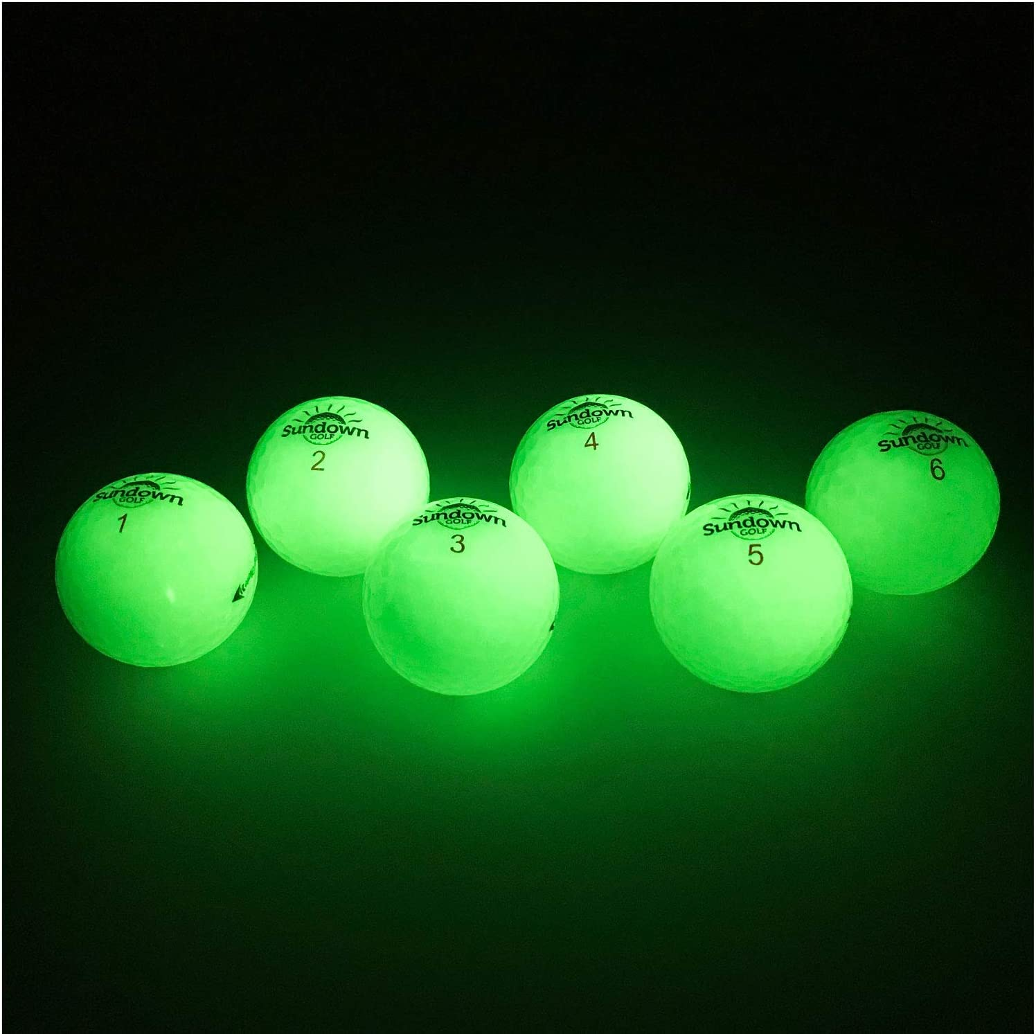 Sundown Golf Glow in The Dark Golf Balls - 6 Pack with 2 UV Flashlights, Plays Like A Standard Ball