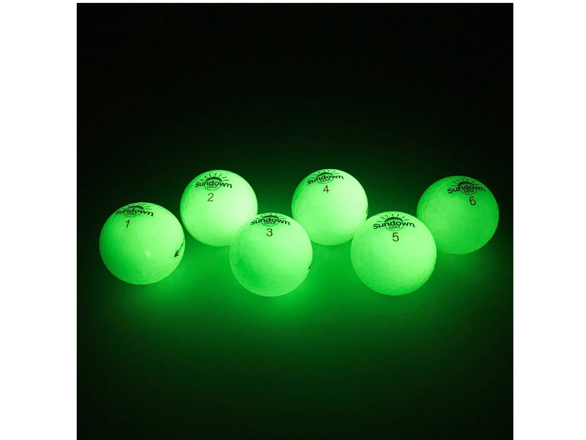 Sundown Golf Glow in the Dark Golf Balls - 6 Pack with 2 UV Flashlights by Sundown Golf
