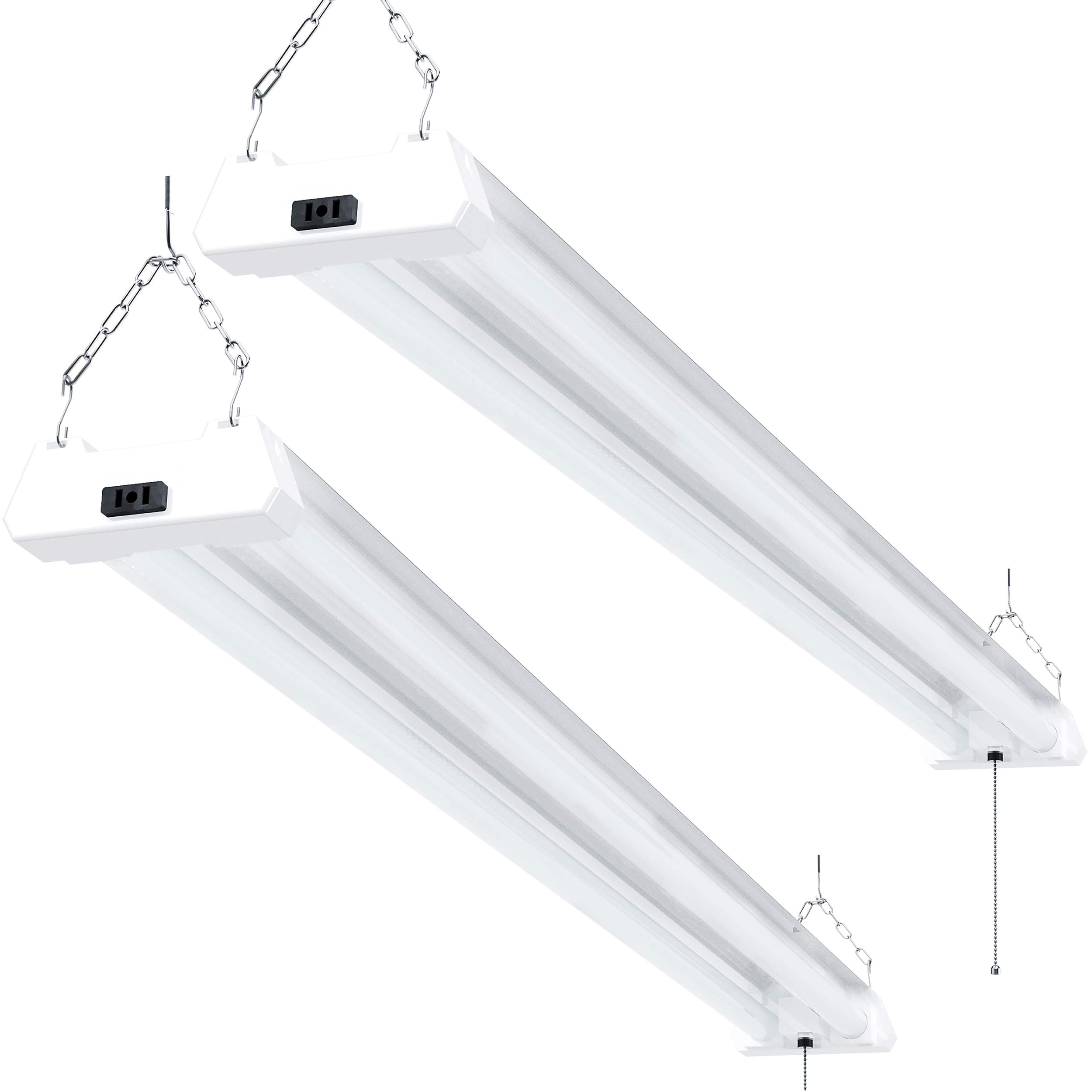 Sunco Lighting 2 Pack LED Utility Shop Light, 4 FT, Linkable Integrated Fixture, 40W=260W, 5000K Daylight, 4100 LM, Frosted Lens, Surface/Suspension Mount, Pull Chain, Garage - ETL, Energy Star