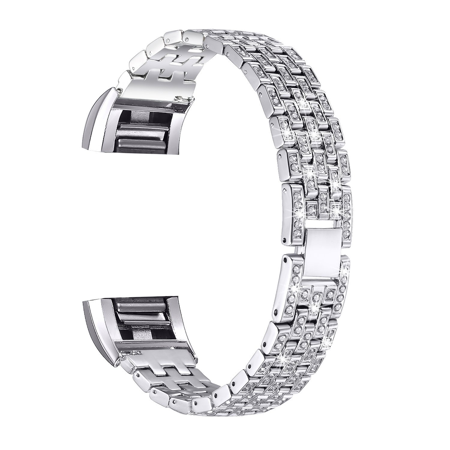 bayite Replacement Bands for Fitbit Charge 2 Bracelet Metal Silver Bling Bands for Fitbit Charge 2 with Rhinestone