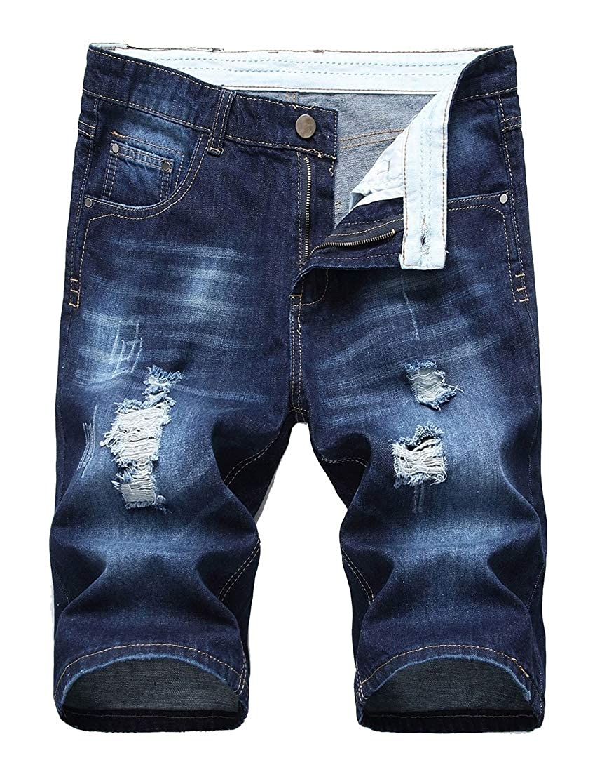 Esast Men Regular Fit Cotton Distressed and Ripped Jeans Shorts