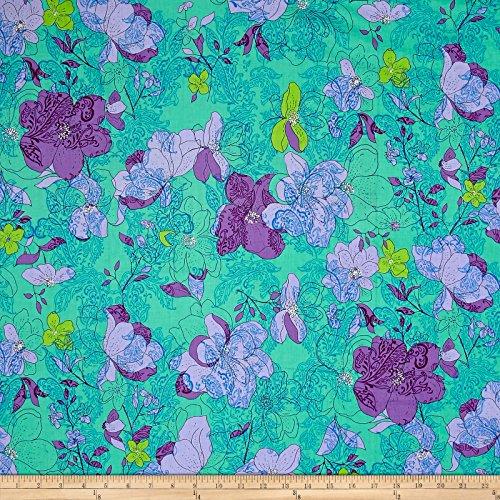 Ink & Arrow Fabrics Ink and Arrow Hayden Floral Paisley, Aqua (Aqua Paisley Fabric)